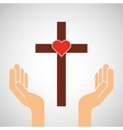 hands with cross and sacred heart icon vector image
