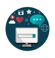 Computer bubble and search design vector image