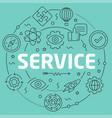 green line flat circle service vector image
