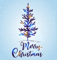 hand drawn christmas tree in the snow vector image