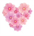 spring background with gentle heart from flowers vector image