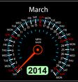 2014 year calendar speedometer car in March vector image