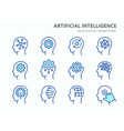 artificial intelligence line icons set blue vector image vector image