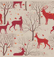 autumn forest tile pattern animal deer fall vector image vector image