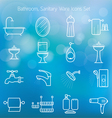 Bathroom Line Icons Set with Blur Background vector image vector image