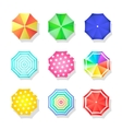 Beach set of sun umbrellas top view Summer vector image