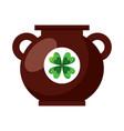 big cauldron with clover sticker image vector image