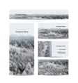 Business cards design foggy winter forest
