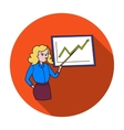 Businesswoman and growing graphic icon in flat vector image