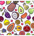 cartoon fruits and berries seamless pattern vector image