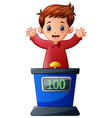 cartoon kid playing quiz game answering question vector image vector image