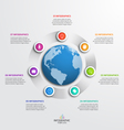 circle infographic template with globe 7 options vector image vector image