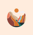 circle shaped colorful abstract mountains vector image vector image