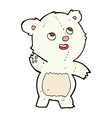 comic cartoon cute waving polar bear teddy vector image vector image