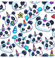 cute little pandicorn seamless pattern vector image vector image