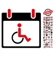 Disabled Person Calendar Day Flat Icon With vector image vector image