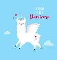 doodle blue llama vector image vector image