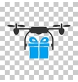 Drone Gift Delivery Icon vector image vector image