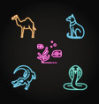 egypt animal icons set in neon line style vector image vector image