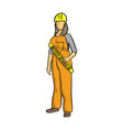 female construction worker holding yellow vector image