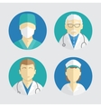 flat design people icons doctor and nurse vector image vector image