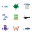 flat icon sea set of cachalot cancer tortoise vector image vector image