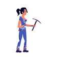 girl rock climber in sports equipment with pickaxe vector image