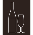 glass champagne and bottle vector image vector image