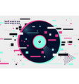 glitch style vinyl record night party background vector image vector image
