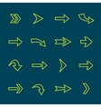 Green arrow signs lines icon set vector image