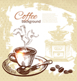 Hand drawn vintage coffee background vector | Price: 1 Credit (USD $1)