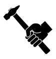hand holding hammer on a white background vector image vector image