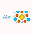 happy diwali banner hindu diya flower candle vector image