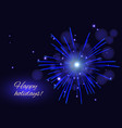 holidays blue fireworks greeting background copy vector image vector image