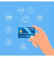Human hand holding bank credit card Financial and vector image