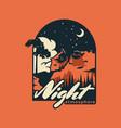 logo night vintage badge style vector image