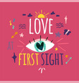 love at first sight greeting card color design vector image vector image