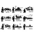 military vehicles army soldier transportation set vector image vector image