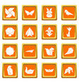 origami icons set orange square vector image