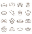 outline collection bakery elements vector image