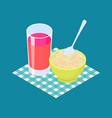 parboiled rice porridge and fruit juice breakfast vector image vector image