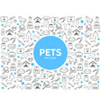 pets line icons pattern vector image vector image