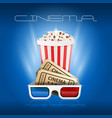 popcorn box cinema tickets and 3d glasses - movie vector image vector image