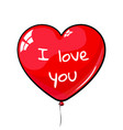 red heart shaped balloon labeled i love you vector image vector image