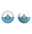 san marino flag under 3d dome button and on vector image vector image