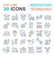set line icons agriculture technology