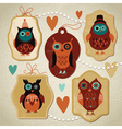 Set of Vintage cute owls vector image vector image