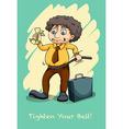 Tighten your belt idiom vector image vector image