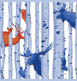 wild forest animals hiding among birch trees vector image