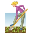 Young woman digging spring soil with shovel vector image vector image